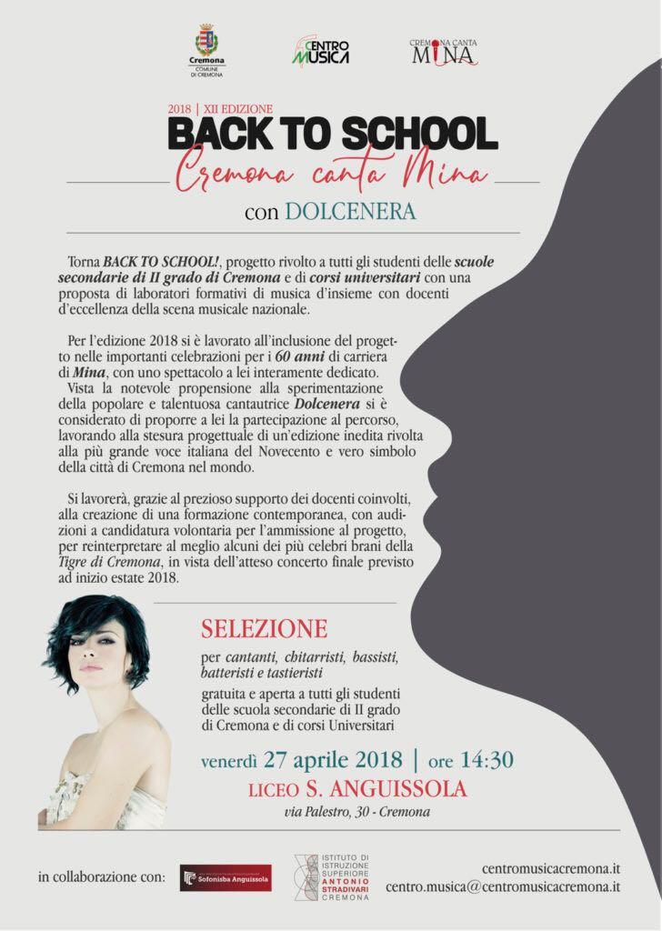 "BACK TO SCHOOL! 2018 ""Cremona canta Mina"" con DOLCENERA:"
